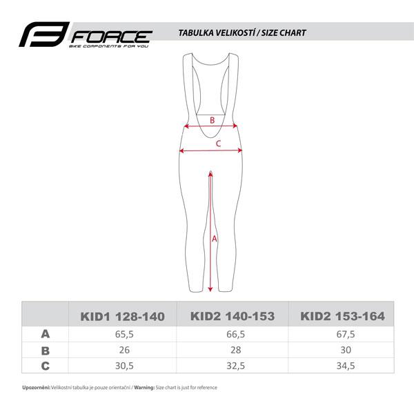 tabulka kalhoty force reflex line kid